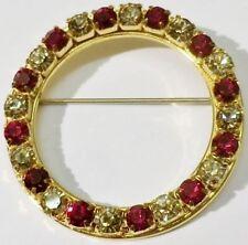 broche bijou vintage couronne couleur or cristaux diamant rubis * 5300