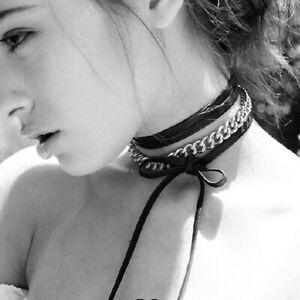 Damen Punk Choker Kropfkette Gliederkette mit Lederner Schnur Modeschmuck