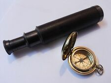 Brass Telescope Leather Grip With Brass Push Button Compass Marine