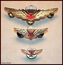 Canadian Airborne Basic Parachutist Wings Badges Set Lot 3 Red Maple Leaf