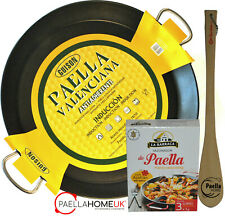 NON STICK STAINLESS STEEL PAELLA PAN 50cm INDUCTION & VITRO & SPOON +PAELLA GIFT
