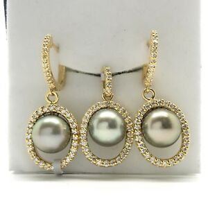 18k yellow gold earrings and pendant natural diamond and pearl set