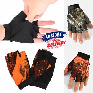 5 Cut-Finger/Fingerless Pair Gloves Flexible Fishing Camouflage/Orange Anti-slip