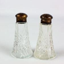 Vtg Pressed Crystal w/ Sterling Lids Salt Pepper Shakers Pat Appl'd Made In USA