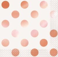 DOTS METALLIC ROSE GOLD BEVERAGE SMALL NAPKINS PACK OF 16 PARTY SUPPLIES