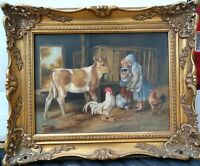 """Oil Painting """"VISITING"""", OIL ON BOARD by DAVID BEATTY ; 1960+/- FRAMED"""