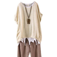 Women Summer T-Shirt Casual Plain Loose Blouse Shirt Batwing Asymmetrical TopFGH