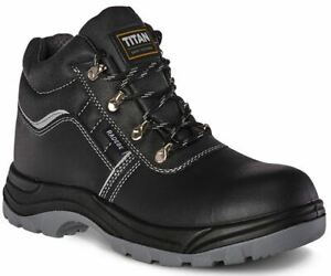 Mens Titan Steel Toe Lightweight Leather Safety Hiking Ankle Work Boots Shoes