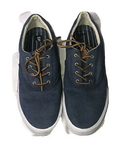 Sperry Mens Striper Fabric Low Top Lace Up Fashion Sneakers, Navy, Size 10.5