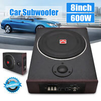 """8"""" 600W Watt Active Under Seat Car Subwoofer Stereo Power Amplifier Amp Enclosed"""