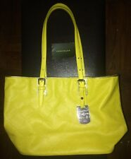 Longchamp LM Cuir Leather Small Lemon Yellow Tote With Silver Tone Hardware