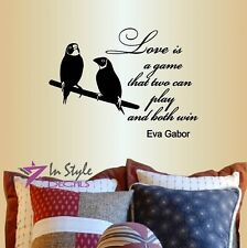 Vinyl Decal Love Birds on Branch Love is a Game Ava Gabor Quote Wall Sticker 55