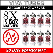 Gain Matched Octet (8) JJ 12DW7 / ECC832 / 7247 Vacuum Tubes - Brand New