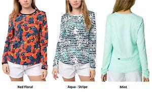 Hang Ten Womens Long Sleeve Rashguard UPF 50+ Stretch Top Shirt, NWT Colors Size