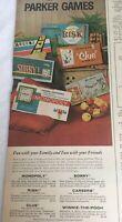 Vintage 1962 Parker Games Board Original Magazine Print Ad Monopoly Risk Clue