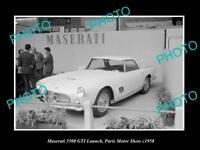 OLD LARGE HISTORIC PHOTO OF 1958 MASERATTI 3500 GTI TURIN MOTOR SHOW DISPLAY