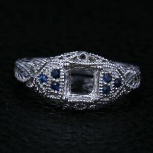 Noble Solid 10K White Gold .4ct Sapphire Antique Semi Mount Ring Princess 5.5mm