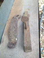 Primitive hammered Iron Pair Barn Door / Railroad Car Handle Latch Rustic Farm