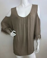 Women's New Plus 2X Beige Lace Boho Peasant Top Blouse Shirt Tunic NWT