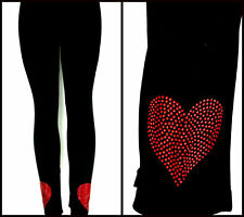 Plus Size Full-Length LEGGINGS Embellished Red Rhinestone Valentine's Day Hearts