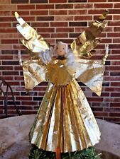 Vintage German Wax Angel with Candles,Foiled Gown,Spun Glass Hair,Tree Topper