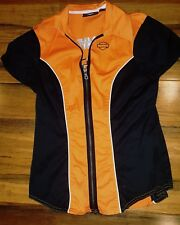 HARLEY DAVIDSON Womens ColorBlock Zip Up Garage Shirt Blouse Orange Black xsmall