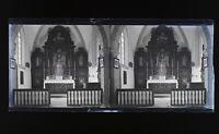 Francia Interno Chiesa Foto Stereo L5n11 Vintage Placca Da Lente Negativo