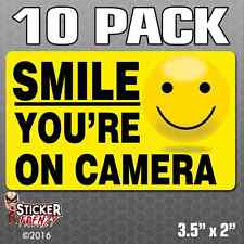 10 Pk SMILE YOU'RE ON CAMERA Stickers Video Alarm Security System Decal Warning