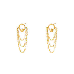 18ct Gold-Plated Circle & Chain Stud Earrings