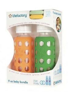 9oz LifeFactory Glass Baby Bottle Bundle NEW w/Silicone Teethers — Orange/ Green