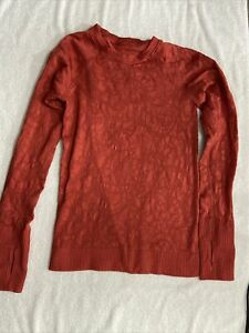 Lululemon Top Long Sleeve 6 dark red cute design
