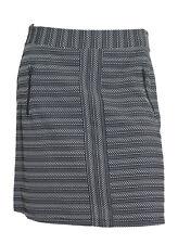 Ladies Grey Black White Zip Jacquard Skirt Work Size 10 12 (W6.2)