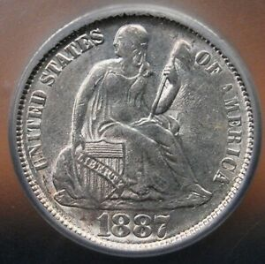 1887 SEATED DIME ICG MS 61 LUSTROUS ALL WHITE AND QUITE NICE FOR THE GRADE