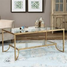 DESIGNER AGED GOLD LEAF METAL COFFEE COCKTAIL TABLE TEMPERED GLASS TOP U0026  SHELF