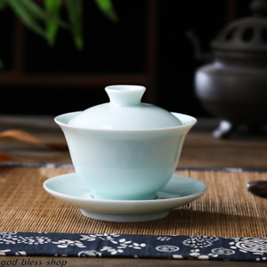 Jingdezhen porcelain gaiwan celadon tureen covered bowl with lid cup saucer new