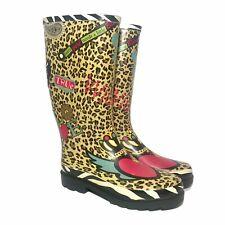 Rubber Rain Boots Leopard Zebra Floral Graphics Pattern Women's US 8