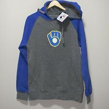 NWT Mens Milwaukee Brewers Logo Hoodie Gray Blue Size Small