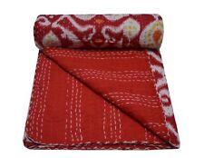 Indigo Red Patchwork Kantha Quilt Indian Bedspread Blanket Reversible Throw