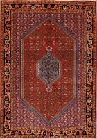 Excellent Vintage Geometric Bidjar Area Rug Wool Hand-Knotted RUST RED 4'x5'
