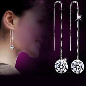 S925 Silver Drop Dangle Earrings Clear Round Cubit Zircon Crystal Thread Through