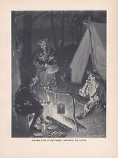 Original Antique Adirondack Mt. Fly Fishing; Camping Print by H. S. Watson 1907