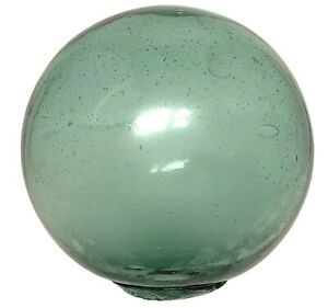 """Japanese Vintage Glass Fishing Float 4-3/4"""" MADE IN JAPAN Marked Aqua Green"""