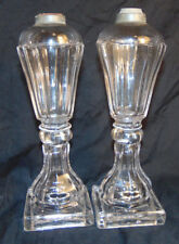 """Antique Pair of Clear Glass What Oil Lamps Unsigned Estate Fresh 10-3/8"""" Tall"""