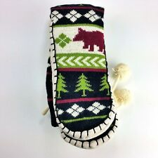 Bear Blue Green Burgundy Slippers Lazy One Mukluk Slippers Size L / XL 7.5-9