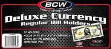 150 BCW Deluxe Semi Rigid Regular Dollar Bill Holder  Mailer  Money Holder