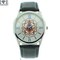 Men's Masonic Watch Black Leather Band w Blue and Orange Details on Dial New