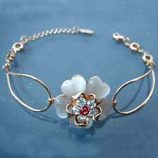 Yellow Gp Crystal Bracelet Bangle Bh3131 Navachi White Opal Blooming Flower 18K