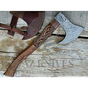 Custom Handmade Damascus Camping Axe/Survival Camping Hatchet/carving wood handl
