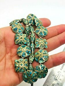 ANTIQUE TIBET SILVER TURQUOISE INLAY BEADS 24 PISCES