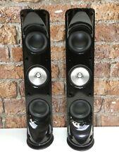Pair Of KEF KHT 5001 Gloss Black Surround Sound Loudspeakers + Metal Base Stands